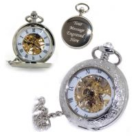 Ornate Front Mechanical Skeleton Pocket Watch